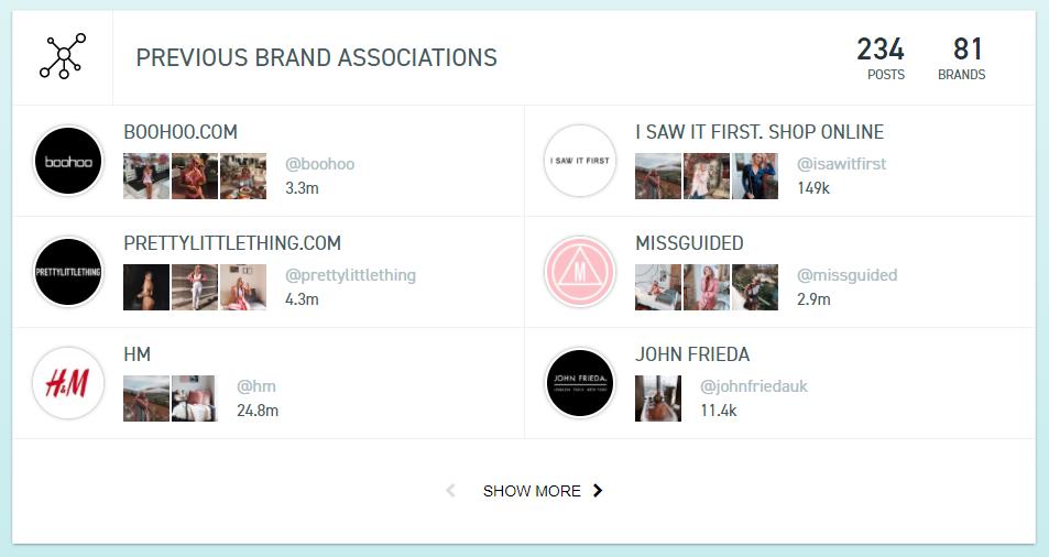 ZINE Influencer Marketing Blog |Previous brand associations